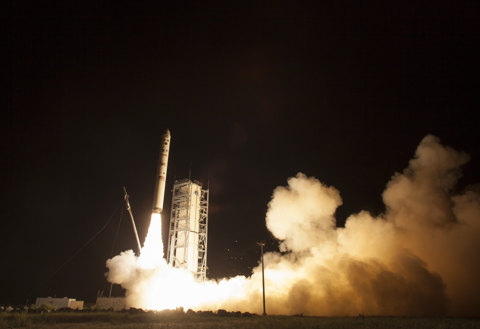 NASA's Lunar Atmosphere and Dust Environment Explorer (LADEE) observatory launches aboard the Minotaur V rocket from the Mid-Atlantic Regional Spaceport (MARS) at NASA's Wallops Flight Facility. Image credit: NASA/Carla Cioffi.