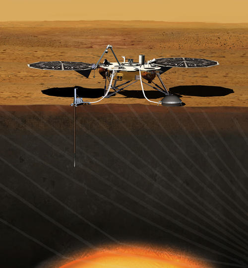 This artist's concept depicts the stationary NASA Mars lander known by the acronym InSight at work studying the interior of Mars. Image credit: NASA.