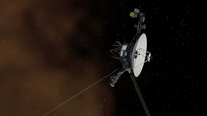 This artist's concept depicts NASA's Voyager 1 spacecraft entering interstellar space, or the space between stars. Interstellar space is dominated by the plasma, or ionized gas, that was ejected by the death of nearby giant stars millions of years ago. The environment inside our solar bubble is dominated by the plasma exhausted by our sun, known as the solar wind. The interstellar plasma is shown with an orange glow similar to the color seen in visible-light images from NASA's Hubble Space Telescope that show stars in the Orion nebula traveling through interstellar space. Credit: NASA/JPL-Caltech