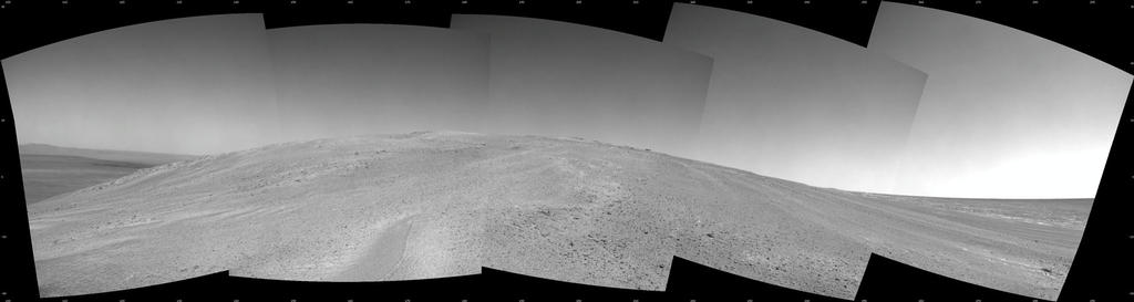 "NASA's Mars Exploration Rover Opportunity captured this southward uphill view after beginning to ascend the northwestern slope of ""Solander Point"" on the western rim of Endeavour Crater.  Image Credit: NASA/JPL-Caltech."
