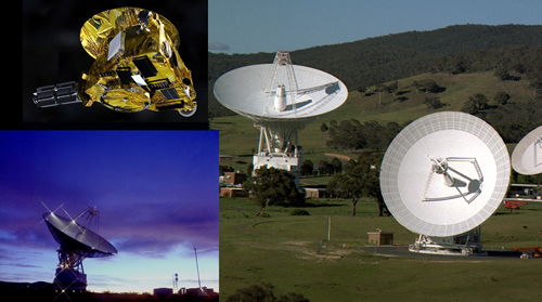 New Horizons engineers created audio from ranging signals sent to New Horizons on June 29 from the DSN station in Goldstone, Calif. (bottom left), and returned to the station in Canberra, Australia (right). Traveling at the speed of light, the signals made the round trip in six hours, 14 minutes and 29 seconds. (DSN photos courtesy of NASA/JPL.)