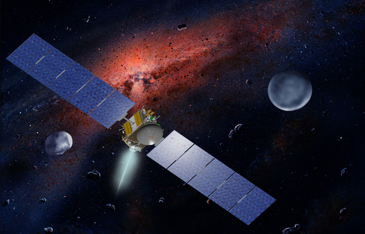 NASA's Dawn spacecraft, illustrated in this artist's concept, is propelled by ion engines. Image credit: NASA/JPL.