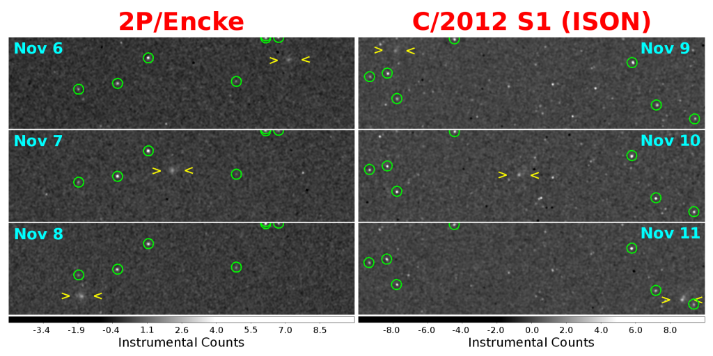 MESSENGER's First Images of Comets Encke and ISON. Image credit: NASA/Johns Hopkins University Applied Physics Laboratory/Carnegie Institution of Washington/Southwest Research Institute.