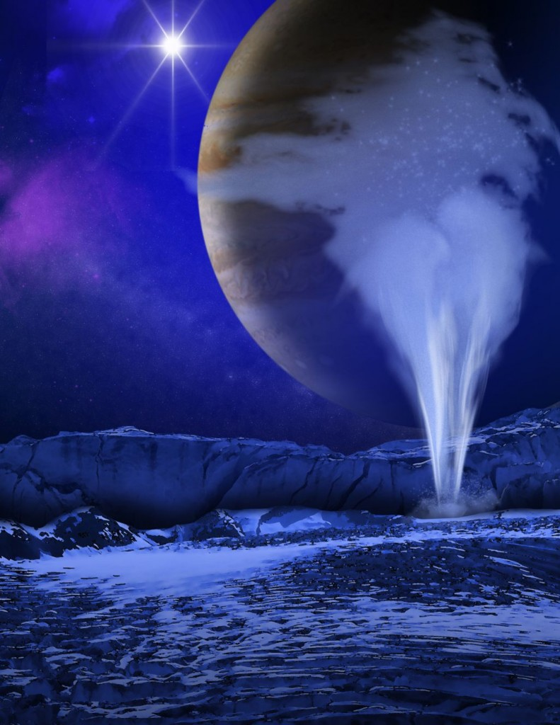 This is an artist's concept of a plume of water vapor thought to be ejected off the frigid, icy surface of the Jovian moon Europa, located about 500 million miles (800 million kilometers) from the sun. Image Credit: NASA/ESA/K. Retherford/SWRI.