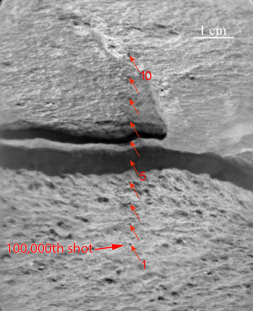 Since landing on Mars in August 2012, NASA's Curiosity Mars rover has fired the laser on its Chemistry and Camera (ChemCam) instrument more than 100,000 times at rock and soil targets up to about 23 feet (7 meters) away. Image credit: NASA/JPL-Caltech/LANL/CNES/IRAP/UNM.