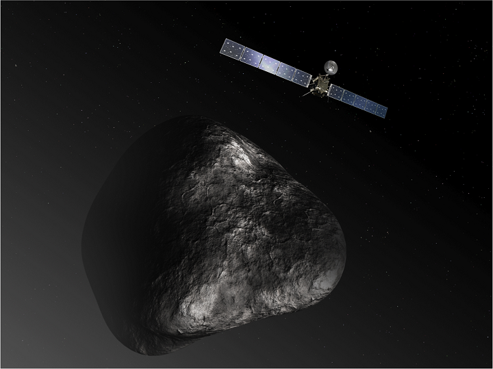 Artist's impression of the Rosetta orbiter at comet 67P/Churyumov-Gerasimenko. The image is not to scale. Image credit: ESA/NASA.