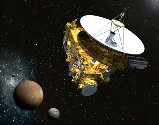 Artist's concept of the New Horizons spacecraft as it approaches Pluto and its three moons in summer 2015. The spacecraft's most prominent design feature is a nearly 7-foot (2.1-meter) dish antenna, through which it will communicate with Earth from as far as 4.7 billion miles (7.5 billion km) away. Image credit: Johns Hopkins University Applied Physics Laboratory / Southwest Research Institute (JHUAPL/SwRI).