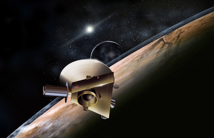 Artist's concept of the New Horizons spacecraft during a planned encounter with Pluto and its moon, Charon. Image Credit: Johns Hopkins University Applied Physics Laboratory/Southwest Research Institute (JHUAPL/SwRI).
