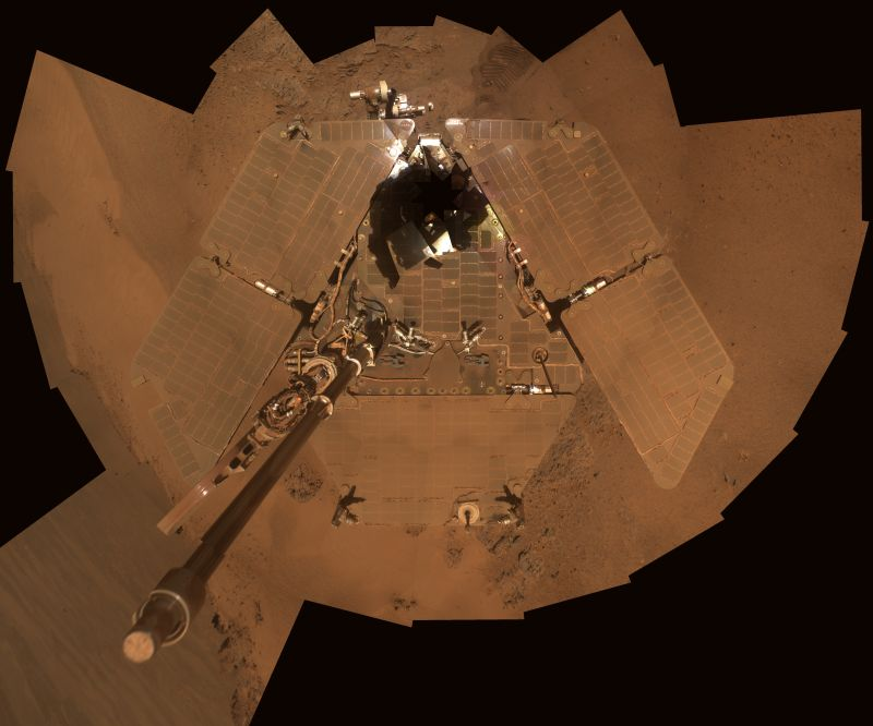 This self portrait from NASA's Mars Exploration Rover Opportunity shows dust accumulation on the rover's solar panels as the mission approached its fifth Martian winter. The dust reduces the rover's power supply, and the rover's mobility is limited until the winter is over or wind cleans the panels.  Image Credit: NASA/JPL-Caltech/Cornell/Arizona State University.