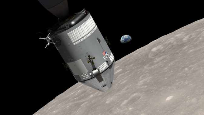 This is a computer-generated visualization of the Apollo 8 spacecraft in orbit around the moon, with Earth rising over the horizon. Image Credit:  Ernie Wright/NASA Goddard Scientific Visualization Studio.