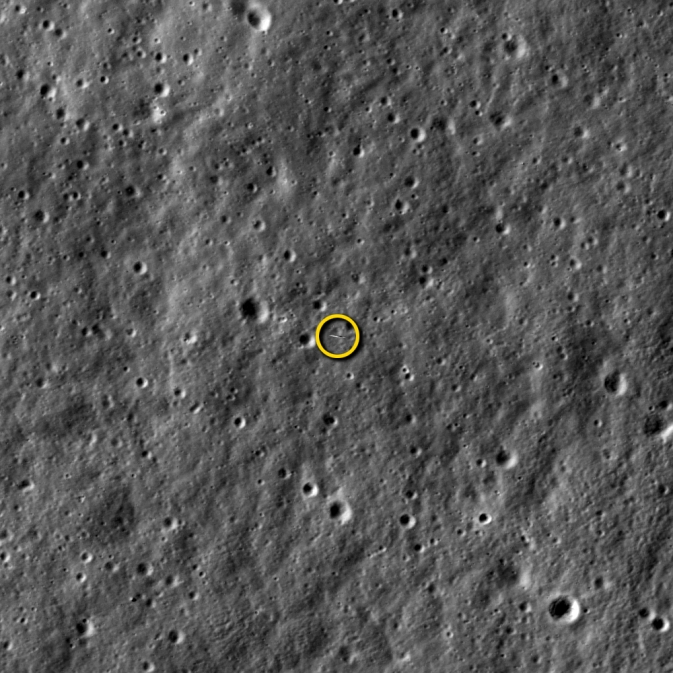 LRO imaged LADEE, about 5.6 miles beneath it, at 8:11 p.m. EST on Jan. 14, 2014. (LROC NAC image M1144387511LR. Image width is 821 meters, or about 898 yards.) Image Credit:  NASA/Goddard/Arizona State University
