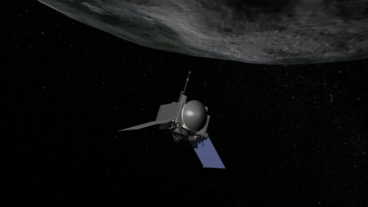 This is an artist's concept of NASA's OSIRIS-REx spacecraft preparing to take a sample from asteroid Bennu. Image Credit: NASA/Goddard/Chris Meaney.