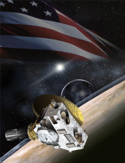Artist's concept of New Horizons with the stars and stripes in the background. Image credit: NASA.