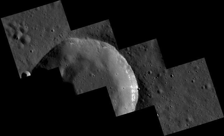 The four-image mosaic shown here is one of the first from the MDIS low-altitude imaging campaign. Among the details revealed are hollows that appear to have formed in one layer in the wall of this 15-kilometer-diameter crater. Image Credit: NASA/Johns Hopkins University Applied Physics Laboratory/Carnegie Institution of Washington.