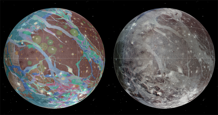 To present the best information in a single view of Jupiter's moon Ganymede, a global image mosaic was assembled, incorporating the best available imagery from NASA's Voyager 1 and 2 spacecraft and NASA's Galileo spacecraft. Image Credit: USGS Astrogeology Science Center/Wheaton/NASA/JPL-Caltech.