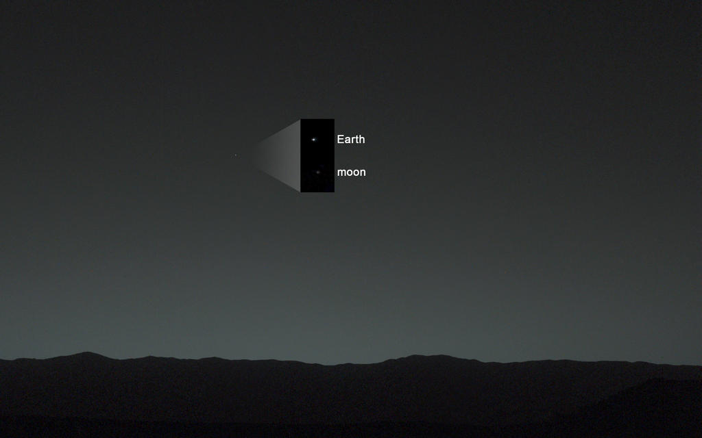 This view of the twilight sky and Martian horizon taken by NASA's Curiosity Mars rover includes Earth as the brightest point of light in the night sky. Image Credit: NASA/JPL-Caltech/MSSS/TAMU.
