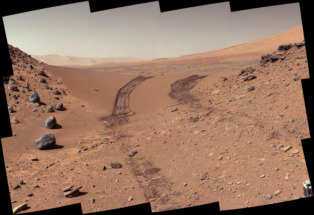 This look back at a dune that NASA's Curiosity Mars rover drove across was taken by the rover's Mast Camera (Mastcam) during the 538th Martian day, or sol, of Curiosity's work on Mars (Feb. 9, 2014). Image Credit: NASA/JPL-Caltech/MSSS.