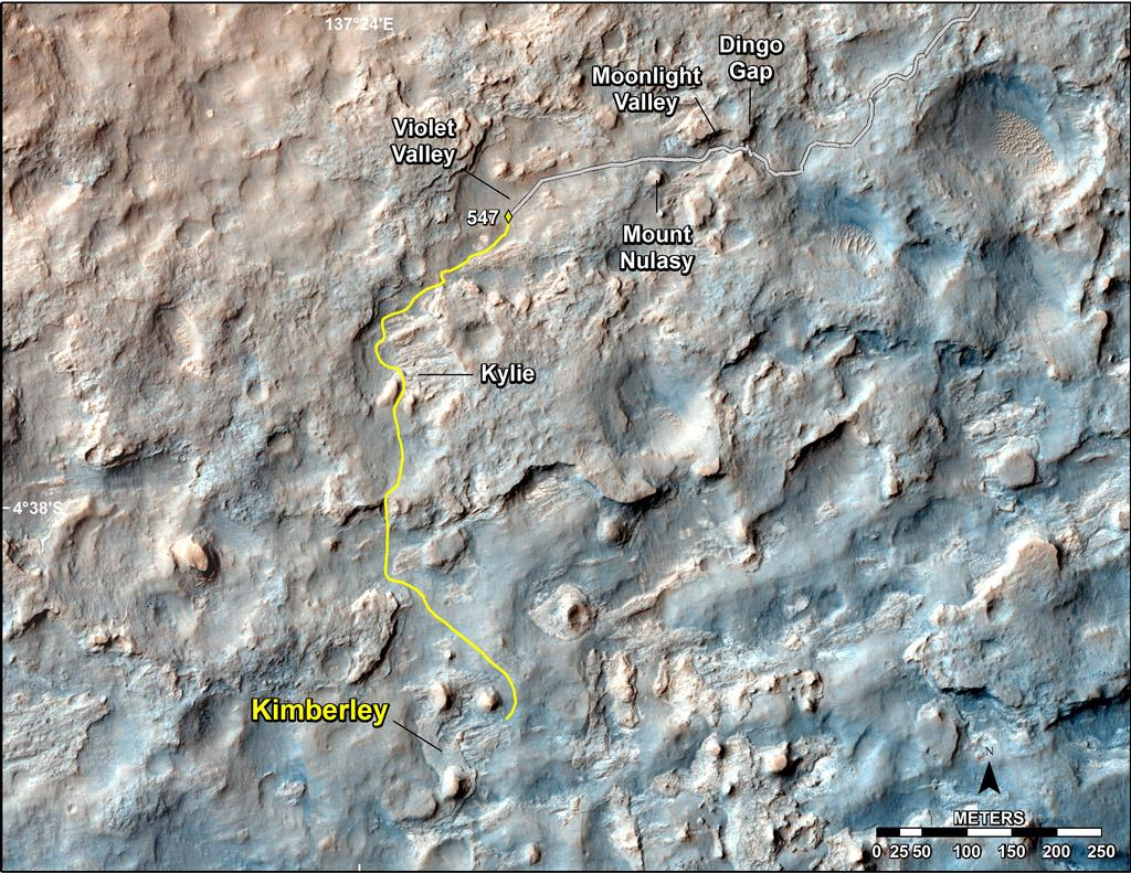 "This map shows the route driven and route planned for NASA's Curiosity Mars rover from before reaching ""Dingo Gap."" Image Credit: NASA/JPL-Caltech/Univ. of Arizona."