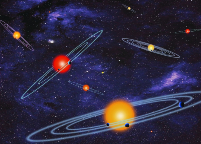 The artist concept depicts multiple-transiting planet systems, which are stars with more than one planet. The planets eclipse or transit their host star from the vantage point of the observer. This angle is called edge-on. Image credit: NASA.