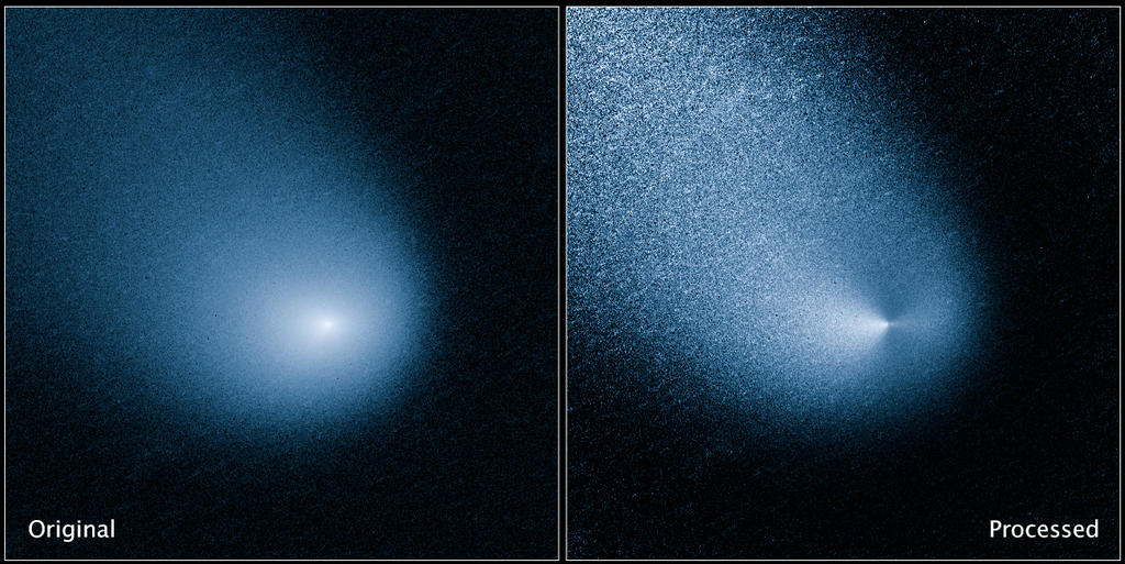The images above show -- before and after filtering -- comet C/2013 A1, also known as Siding Spring, as captured by Wide Field Camera 3 on NASA's Hubble Space Telescope. Image Credit: NASA, ESA, and J.-Y. Li (Planetary Science Institute).