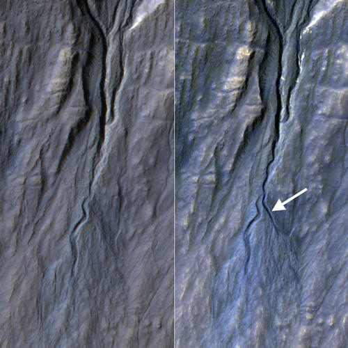 This pair of before (left) and after (right) images from the High Resolution Imaging Science Experiment (HiRISE) camera on NASA's Mars Reconnaissance Orbiter documents formation of a new channel on a Martian slope between 2010 and 2013, likely resulting from activity of carbon-dioxide frost. Image Credit: NASA/JPL-Caltech/Univ. of Arizona.