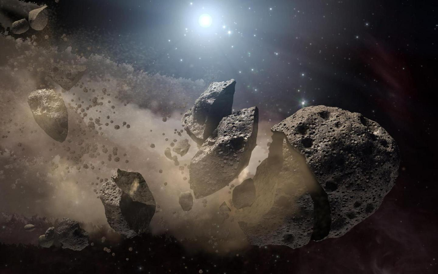 This artist's concept shows a broken-up asteroid. Image credit: NASA/JPL-Caltech