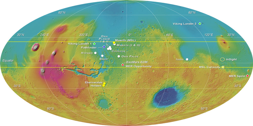 MOLA elevation map of Mars with white circles showing the eight landing sites proposed for the ExoMars 2018 mission. Image Credit: ESA-Roscosmos/LSSWG/E. Hauber.