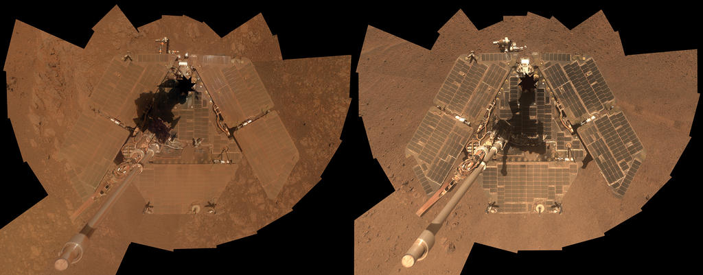 A self-portrait of NASA's Mars Exploration Rover Opportunity taken in late March 2014 (right) shows that much of the dust on the rover's solar arrays has been removed since a similar portrait from January 2014 (left). Both were taken by Opportunity's panoramic camera (Pancam). Image Credit: NASA/JPL-Caltech/Cornell Univ./Arizona State Univ.