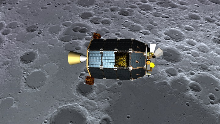 Concept art showing LADEE over the lunar surface. Image Credit: NASA.