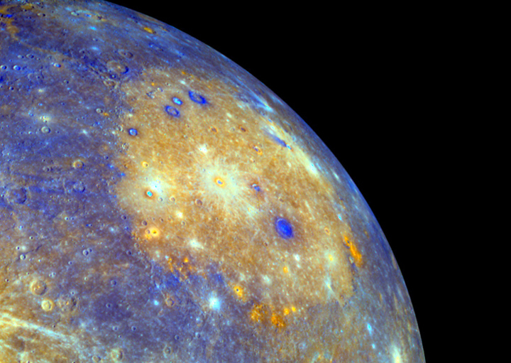 Mercury's Caloris Basin. This image was taken before orbit insertion of the MESSENGER spacecraft. Image credit: NASA.