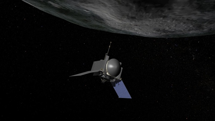 This is an artist's concept of NASA's OSIRIS-REx spacecraft preparing to take a sample from asteroid Bennu. Image Credit: NASA/Goddard.