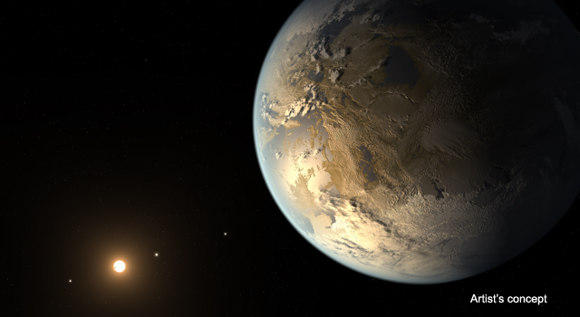 The artistic concept of Kepler-186f is the result of scientists and artists collaborating to imagine the appearance of these distant worlds. Image credit: NASA Ames/SETI Institute/JPL-Caltech.