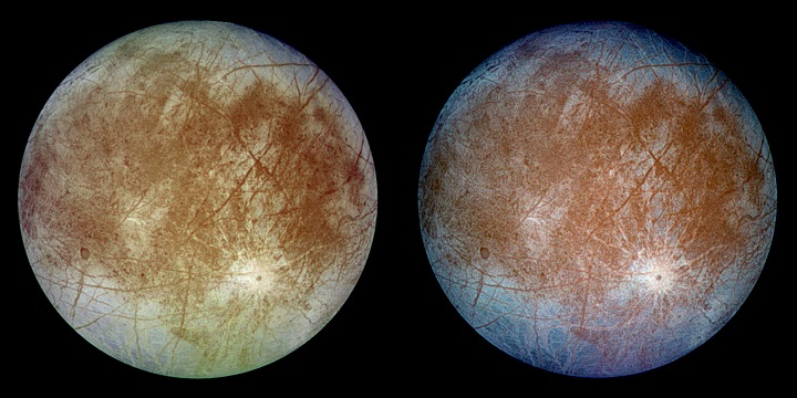 This image shows two views of the trailing hemisphere of Jupiter's ice-covered satellite, Europa. The left image shows the approximate natural color appearance of Europa. The image on the right is a false-color composite version combining violet, green and infrared images to enhance color differences in the predominantly water-ice crust of Europa. Image Credit: NASA.