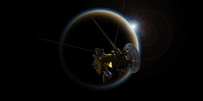 Artist's rendering of NASA's Cassini spacecraft observing a sunset through Titan's hazy atmosphere. Credit: NASA/JPL-Caltech.