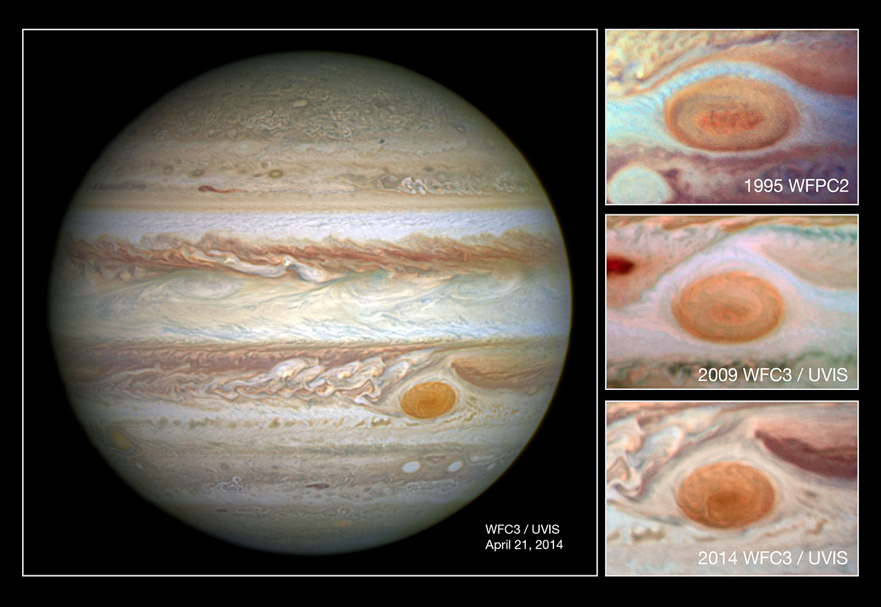 In this comparison image the photo at the top was taken by Hubble's Wide Field Planetary Camera 2 in 1995 and shows the spot at a diameter of just under 21 000km; the second down shows a 2009 WFC3 photo of the spot at a diameter of just under 18 000km; and the lowest shows the newest image from WFC3 taken in 2014 with the spot at its smallest yet, with diameter of just 16 000km. Image credit: NASA, ESA, and A. Simon (GSFC).