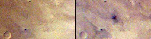 This pair of images taken one day apart by the Mars Color Imager (MARCI) weather camera on NASA's Mars Reconnaissance Orbiter reveals when an asteroid impact made the scar seen in the right-hand image. The left image was taken during Martian afternoon on March 27, 2012; the right one on the afternoon of March 28, 2012. Image Credit: NASA/JPL-Caltech/MSSS.