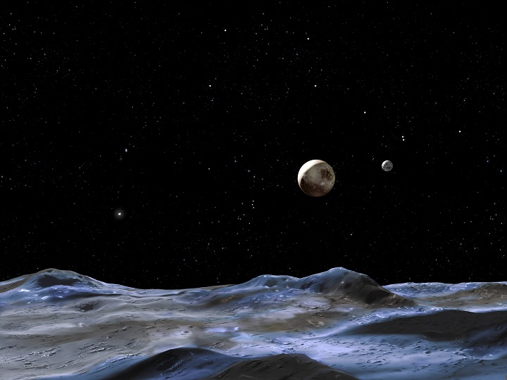 This artist concept shows Pluto and some of its moons, as viewed from the surface of one of the moons. Pluto is the large disk at center. Charon is the smaller disk to the right. Image Credit: NASA, ESA and G. Bacon (STScI).