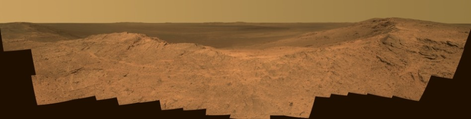 Color view of Pillinger Point from Opportunity's panoramic camera (Pancam). Image credit: NASA.