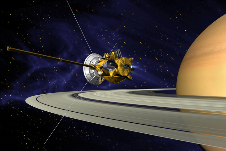 This is an artist's concept of Cassini during the Saturn Orbit Insertion (SOI) maneuver, just after the main engine has begun firing. Image Credit: NASA/JPL.