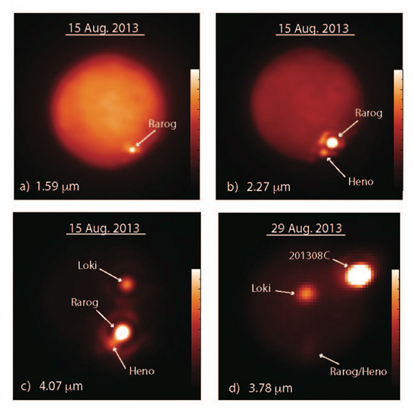 These images show Jupiter's moon Io obtained at different infrared wavelengths (in microns, μm, or millionths of a meter) with the W. M. Keck Observatory's 10-meter Keck II telescope on Aug. 15, 2013 (a-c), and the Gemini North telescope on Aug. 29, 2013 (d). The bar on the right of each image indicates the intensity of the infrared emission. Image courtesy of Imke de Pater and Katherine de Kleer.