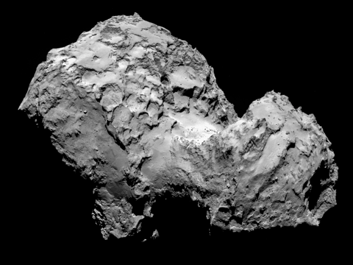 Comet 67P/Churyumov-Gerasimenko by Rosetta's OSIRIS narrow-angle camera on August 3, 2014, from a distance of 177 miles (285 kilometers). Image Credit: ESA/Rosetta/MPS for OSIRIS Team MPS/UPD/LAM/IAA/SSO/INTA/UPM.