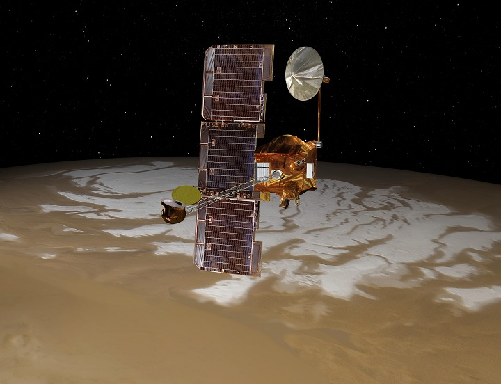 NASA's Mars Odyssey spacecraft passes above Mars' south pole in this artist's concept illustration. The spacecraft has been orbiting Mars since October 24, 2001. Image Credit: NASA/JPL-Caltech