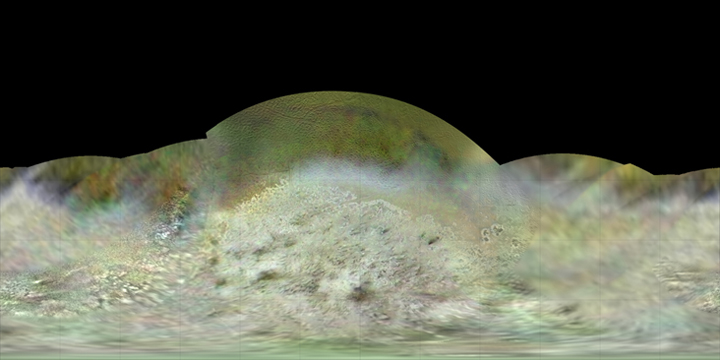 Paul Schenk, a scientist at the Lunar and Planetary Institute in Houston, used Voyager data to construct the best-ever global color map of Triton. This map has a resolution of 1,970 feet (600 meters) per pixel. Image credit: NASA/JPL-Caltech/Lunar & Planetary Institute.
