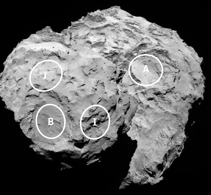 This annotated image depicts four of the five potential landing sites for the Rosetta mission's Philae lander. Image Credit: ESA/Rosetta/MPS for OSIRIS Team MPS/UPD/LAM/IAA/SSO/INTA/UPM.