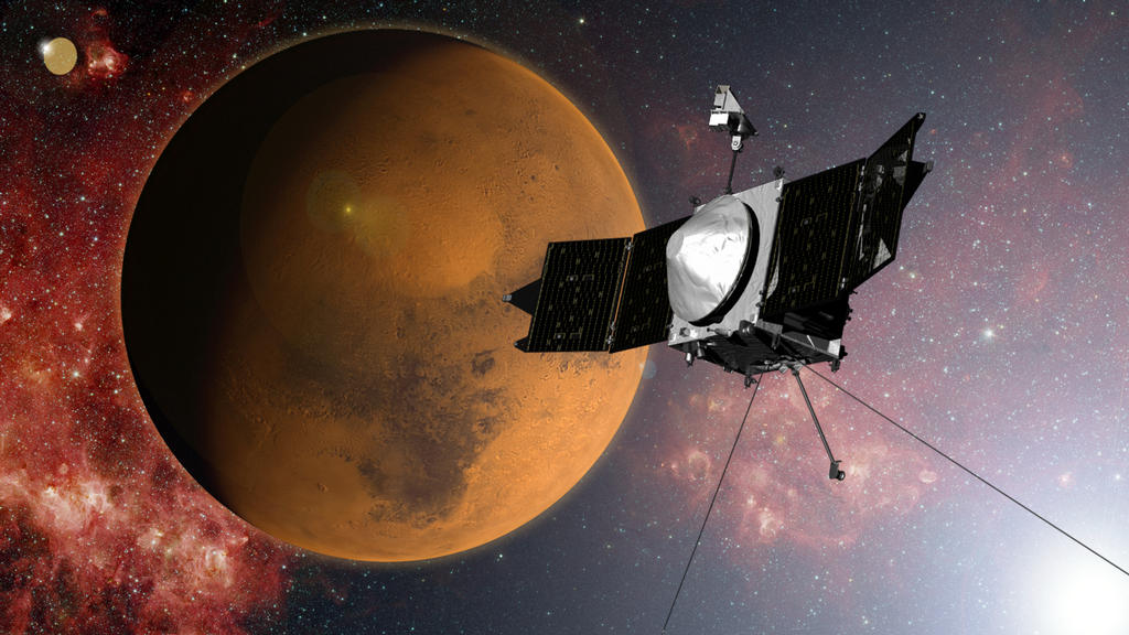 NASA's MAVEN spacecraft is quickly approaching Mars on a mission to study its upper atmosphere. When it arrives on September 21, 2014, MAVEN's winding journey from Earth will culminate with a dramatic engine burn, pulling the spacecraft into an elliptical orbit. Image Credit: NASA/GSFC
