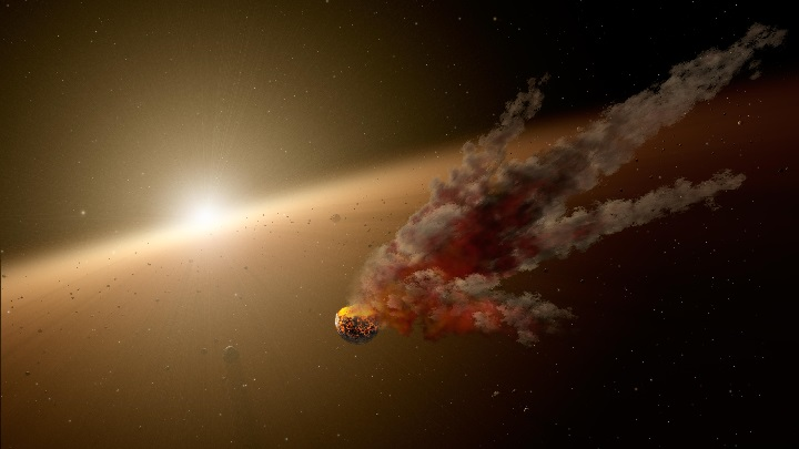 This artist's concept shows the immediate aftermath of a large asteroid impact around NGC 2547-ID8, a 35-million-year-old sun-like star thought to be forming rocky planets. Image credit: NASA/JPL-Caltech.