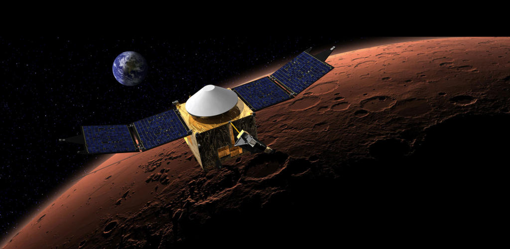 This artist's concept shows the MAVEN spacecraft in orbit around the Red Planet, with a fanciful image of her home planet in the background. Image Credit: NASA/Goddard.