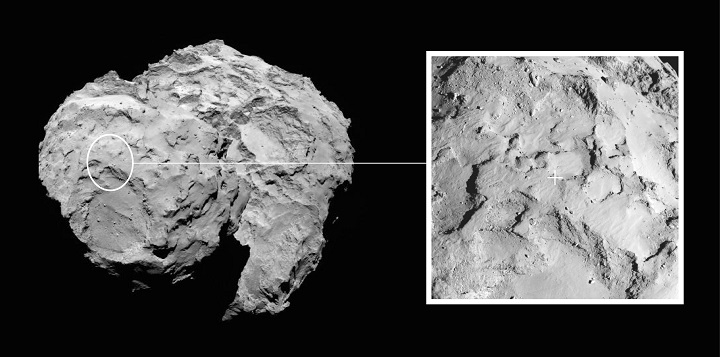 Image depicts the primary landing site on comet 67P/Churyumov-Gerasimenko chosen for the European Space Agency's Rosetta mission. Image credit: ESA/Rosetta/MPS for OSIRIS Team MPS/UPD/LAM/IAA/SSO/INTA/UPM/DASP/IDA.