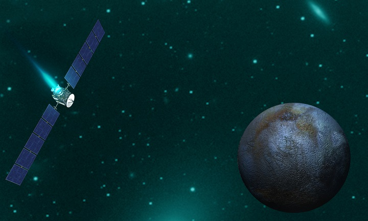 Artist concept of NASA's Dawn spacecraft orbiting Ceres. Image Credit: NASA/JPL-Caltech/UCLA.