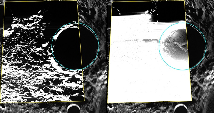 Kandinsky crater is located near Mercury's north pole and shows evidence for hosting water ice. Image Credit: NASA/Johns Hopkins University Applied Physics Laboratory/Carnegie Institution of Washington.